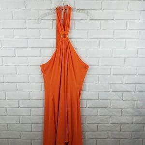 Calvin Klein Orange Halter Type Knee Length Dress
